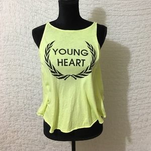 Wildfox Young Heart High Neck Tank Top Neon Yellow